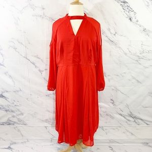 Truly You Red Midi Dress with Split Sleeves 22